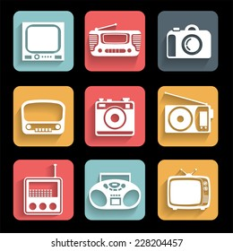 Electronic devices.  Icons set. Interface mobile applications