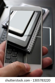Electronic devices, smartphone,  laptop and tablet pc in close up