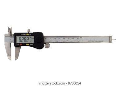 Electronic digital caliper or Vernier guage isolated on white