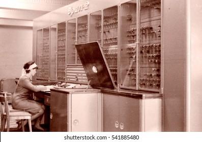 Electronic Digital Computer URAL-2 based on vacuum tubes in Tashkent, Uzbekistan, 1965