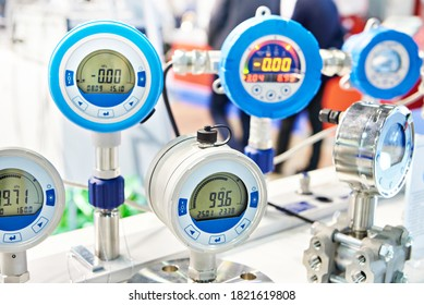 Electronic digital pressure gauge for precision measurements at  industrial exhibition