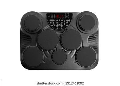 electronic drums portable music device, isolated on white