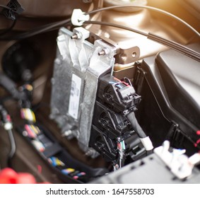 The electronic engine control unit of the car installed in the engine compartment. Car software