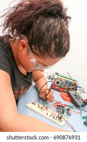Electronic engineer checking the wiring