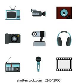 Electronic equipment icons set. Flat illustration of 9 electronic equipment  icons for web