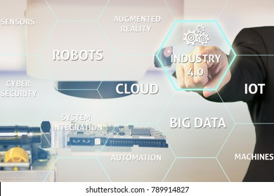 Electronic factory with Industry 4.0 in virtual interface screen as concept of smart factory. Businessman use 4.0 technology for electronic industry with Industrial Microscope background.
