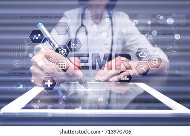 Electronic health record. EHR, EMR. .Medical and healthcare concept. Medicine doctor working with modern pc.