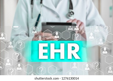 Electronic health record. EHR on the touch screen with medicine icons on the background blur Doctor in hospital.Innovation treatment, service, data analysis health.
