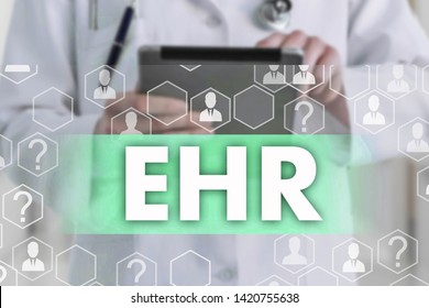 Electronic health record. EHR on the touch screen