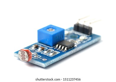 Electronic light module sensor for electronic diy kit, isolated on white background