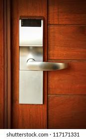 Electronic lock on door