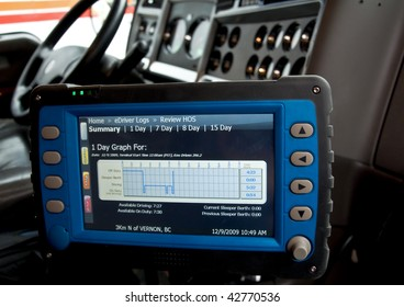 An electronic logbook for truck drivers keeps track of the hours of service.