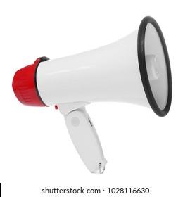 Electronic megaphone on white background