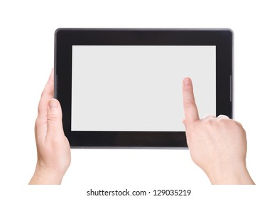Electronic notebook PC on a white background. The palms