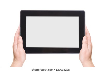 Electronic notebook PC on a white background. Businesswoman
