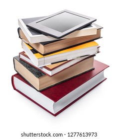 electronic and paper books on white isolated background