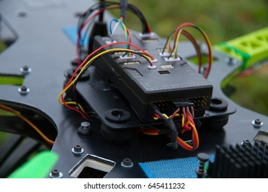 Electronic part of drone with colorful details