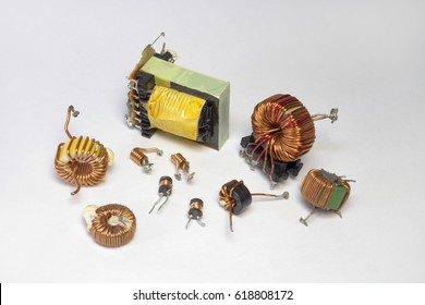 Electronic parts: inductors with toroid core, small transformer, high-frequency inductance coil