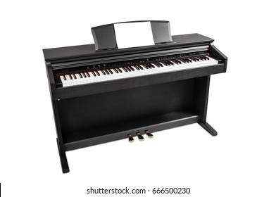 Electronic piano isolated on white background. Place for writing notes.