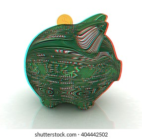 electronic piggy bank on white background. 3D illustration. Anaglyph. View with red/cyan glasses to see in 3D.