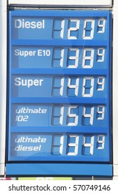 Electronic price display at a petrol station, Bremen, Germany, europe