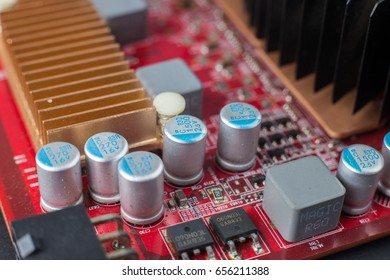 Electronic printed circuit board assembly. selective focus, shallow depth of field