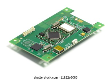 Electronic printed circuit board with chips and other components, front side, angled view, isolated on white
