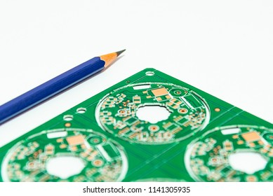 Electronic product design concept,printed circuit board(PCB) include pencil 2B with isolated white background,PCB,