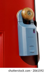 Electronic realtor key holder lock box used for access safety by resale real estate agents on a house door knob