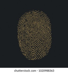 electronic signature.3d illustration of a black background with a volumetric gold image of a fingerprint.The background image symbolizing the secrecy of the security of information is modern technolog