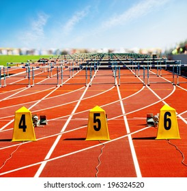 Electronic starting line on stadium running track