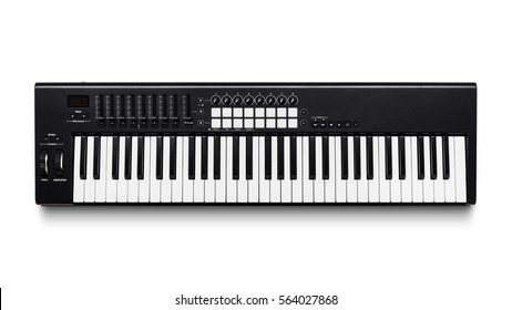 Electronic synthesizer (piano keyboard) isolated on white background with clipping path