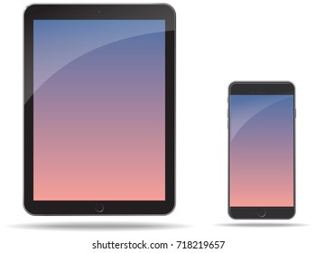 Electronic tablet and phone technical illustration rendering