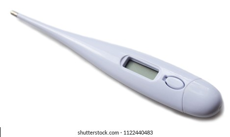 Electronic thermometer isolated over the white background with shadow