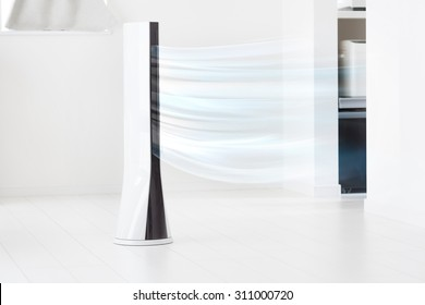 Electronic tower fan blowing cold air