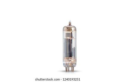 Electronic vacuum radio tubes on white background