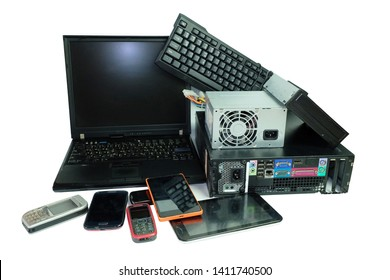 Electronic waste, gadgets electronic equipment for daily use, Laptop and Desktop computer and cell phones isolated on white background
