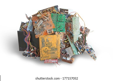 Electronic waste ready for recycling isolate on white background