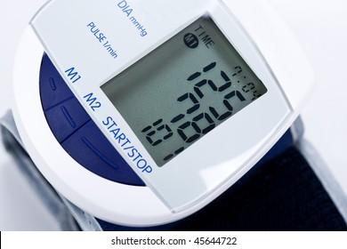 electronic white blue pressure-gauge
