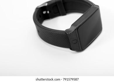Electronic wrist watch on white background
