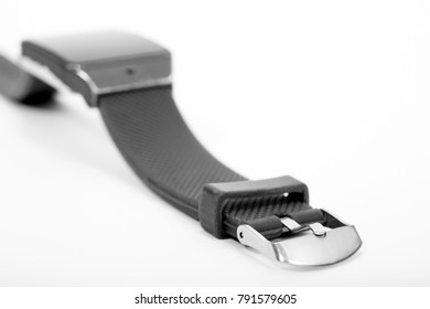 Electronic wrist watch on white background