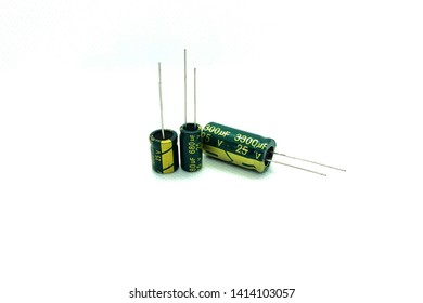 Electronics. Capacitors on white background.