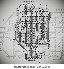 Electronics circuit, microchip background illustration.