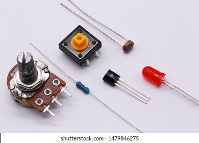 electronics component , resistor, capacitor, switch, variable resistor and connector.on white background