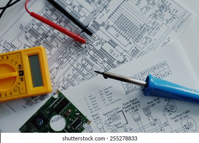electronics electrician engineer wiring diagrams and tools background