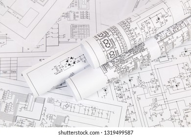 Electronics and Engineering. Printed drawings of electrical circuits. Science, technology and electronics.