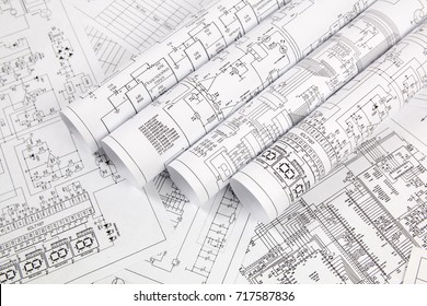 Electronics and Engineering. Printed drawings of electrical circuits
