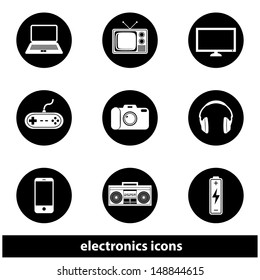 Electronics Icon Set. Raster version, vector also available.