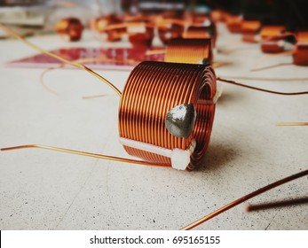 Electronics industry with Copper coil on the table.
