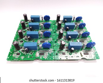 Electronics printed circuit board on White background